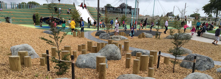 Mulch Man bark spread on large playground